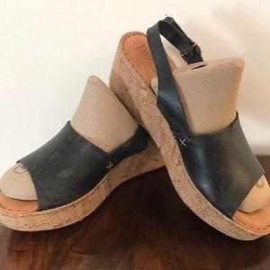 BORN Women's 10 42 Black Slingback Shoes Wedges